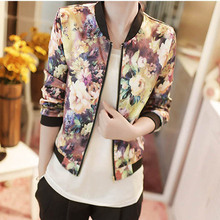 New Women Spring Jackets Short Tops 2016 Long Sleeve Floral Print Coat Vintage Women Clothing Bomber Jacket Chaquetas Mujer