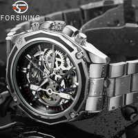 FORSINING メンズ腕時計ステンレス鋼の軍事スポーツ腕時計スケルトン自動機械式男性クロックレロジオの masculino 0609