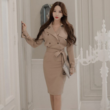 Autumn women dress khaki colour long sleeve Windbreaker bandage vestidos Slim Notched collar V-neck sexy party bodycon dress