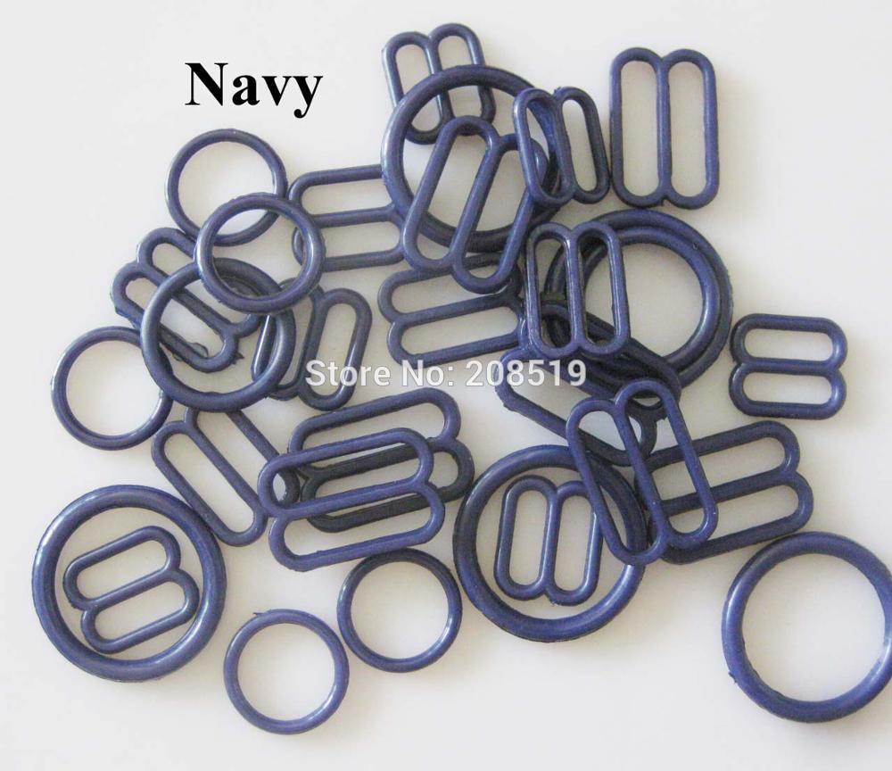 NBNLAE 100 шт. пряжки для бюстгальтера(50 шт. уплотнительное кольцо+ 50 шт. 8 слайдеров) красочные пластиковые пряжки нижнее бельё с пуговицами аксессуары - Цвет: navy as show