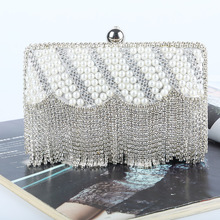 New 2016 Fashion Rhinestone Evening Bags Tassel Rhinestone Evening Bags New Evening Bag Handmade High-end Pearl Evening Bag