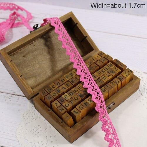 Zakka Стиль хлопковая кружевная лента швейная лента, бежевая Кружевная Сетка, крутая кружевная тесьма(17 мм x 50 ярдов - Цвет: Dark Pink