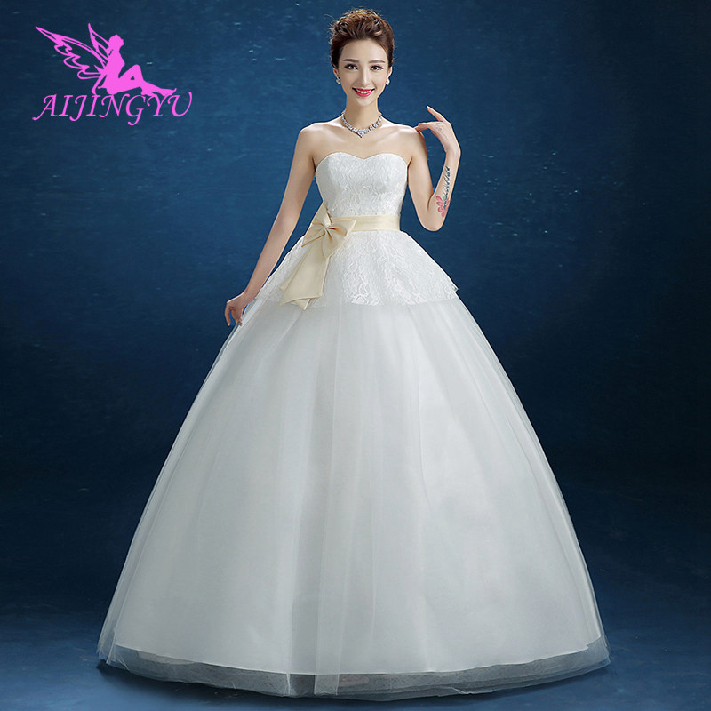 AIJINGYU 2018 mermaid free shipping new hot selling cheap ball gown lace up back formal bride dresses wedding dress FU293-in Wedding Dresses from Weddings & Events    1