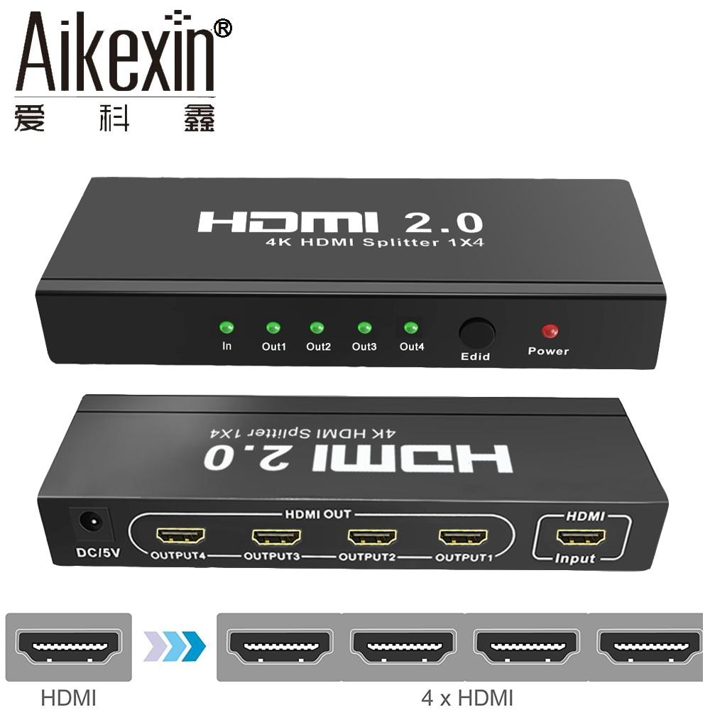 Aikexin 4K HDMI2.0 Splitter 1 in 4 Out 4K/60Hz HDCP2.2,HDMI Splitter 4 port 1X4 Splitter Support HDMI2.0,EDID Function,Ultra HD new 4k x 2k full hdmi splitter 1x4 4 port hub repeater amplifier v1 4 3d 4k 1 in 4 out