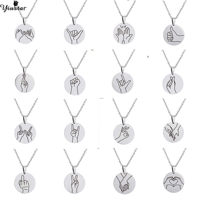 Yiustar Gesture Hand Sign Language Necklace for Women Girls Kids Geometric Round Pendants Necklaces Okay Love Choker Jewelry