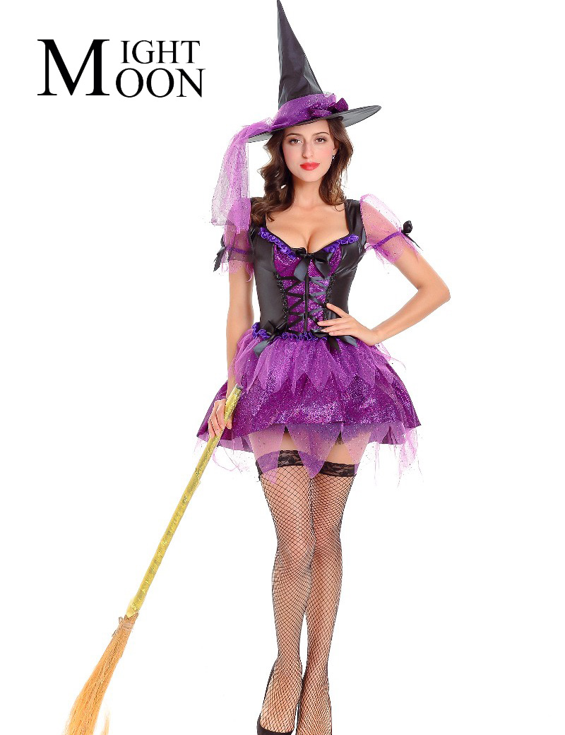 MOONIGHT Sexy Witch Costume Women Purple Witch Costumes Ladies Halloween Cosplay Outfits Party Wear Sorceress Costume