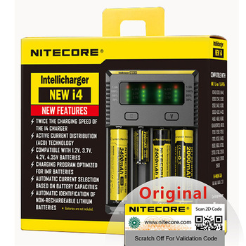 1pc Nitecore new I4 battery charger 18650 14500 16340 LCD 26650 Li-Ion charger 12V charging for one AA AAA battery car charger C