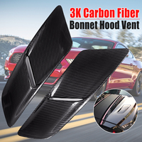 1Pair 3k Carbon Fiber Engine Hood Vents Body Intake Vent Cover Trim Kit Fit for Ford for Mustang 2015 2017