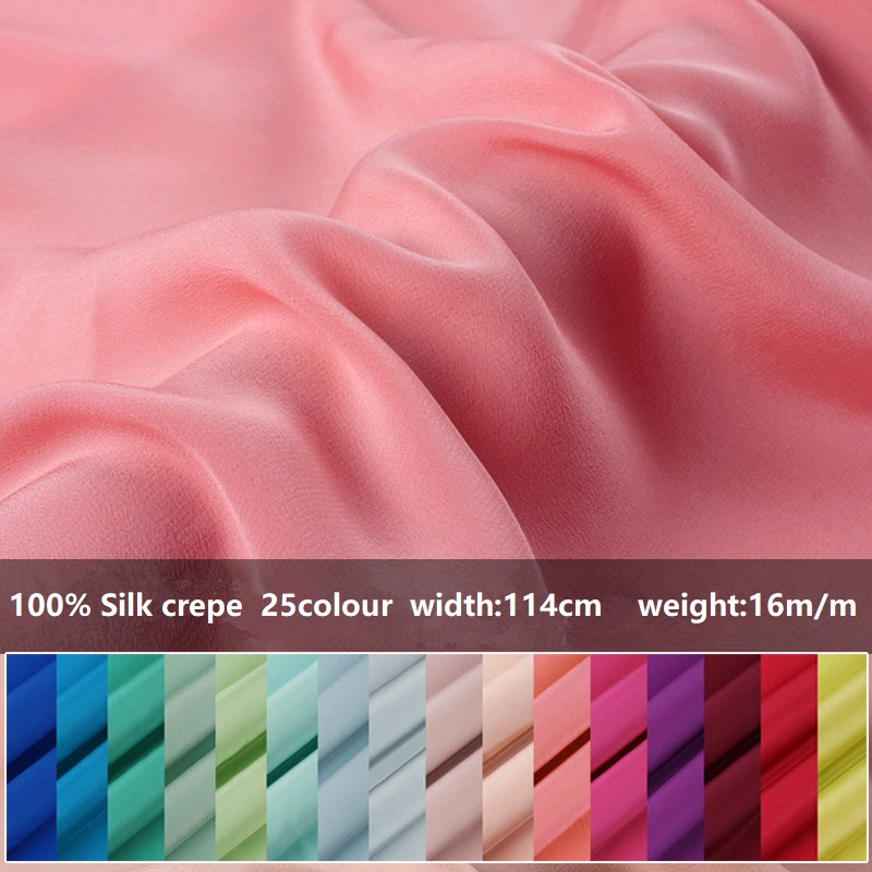 Pure Silk Shirt Clothing Fabric Wide Silk Crepe Silk Fabric Crepe Dress Special Offer100% Pure Silk Crepe 25 Color Selection