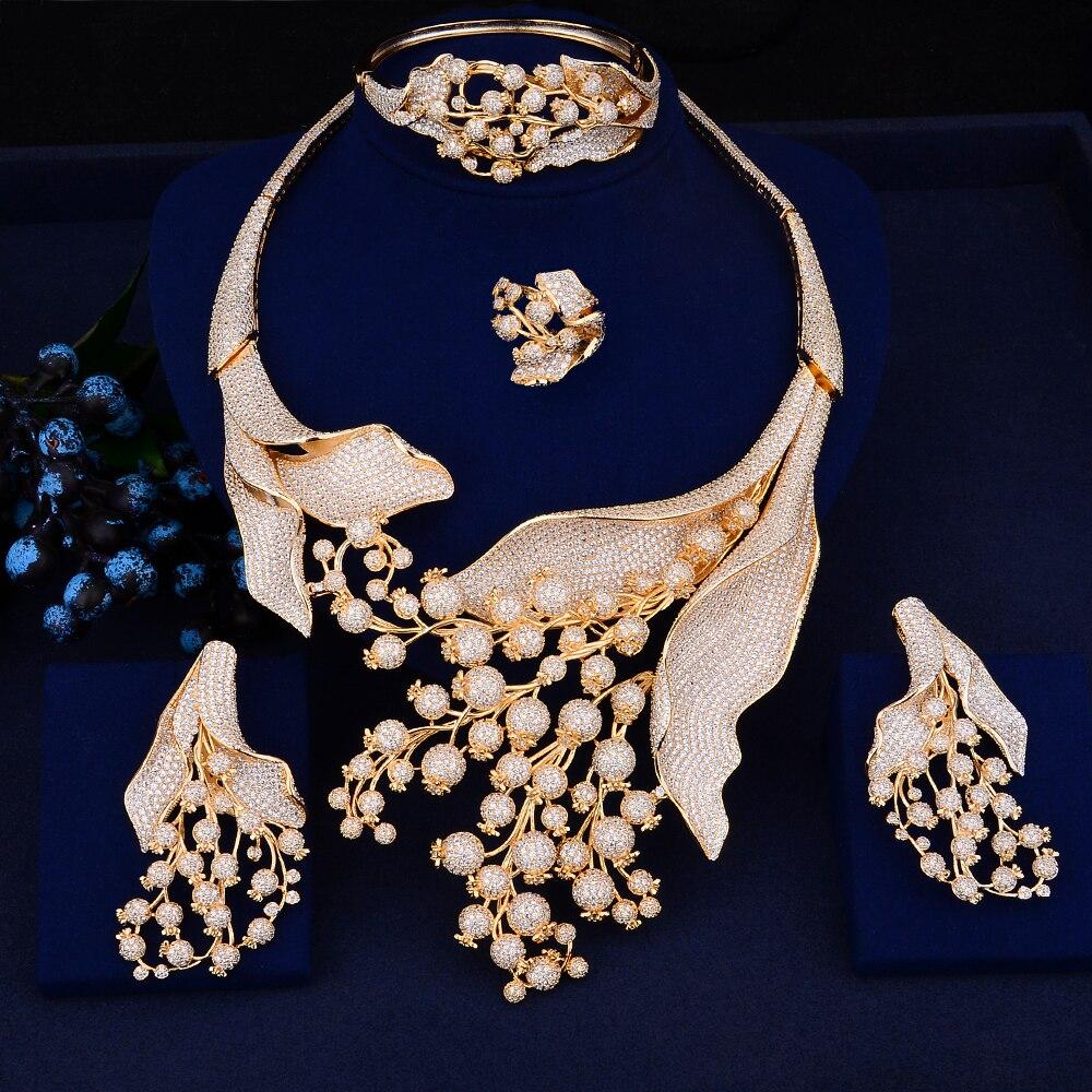 GODKI haute qualité or plante forme bague collier boucles d'oreilles Bracelet bijoux ensemble cubique zircone mariage fiançailles accessoires