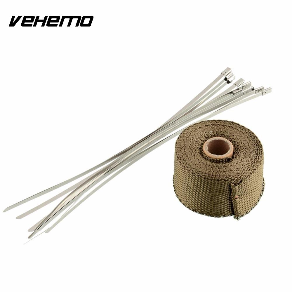 Vehemo 2x5m Titanium High Temp Exhaust Header Heat Wrap Army Green Heater Resistant Downpipe 10 Ties Car Tape Replacement