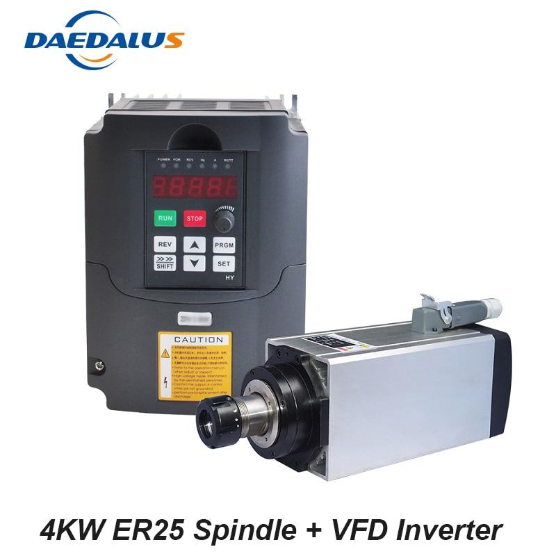 Квадрат с воздушным охлаждением шпинделя 4KW ER25 шпинделя 220 V маршрутизатор бит инструменты с 4KW Конвертор контроллер VFD инвертор