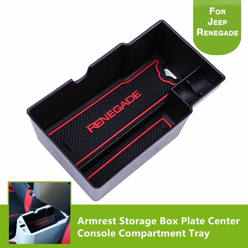 For Jeep Renegade 2015 2016 2017 Organizer Armrest Storage Box Plate Center Console Compartment Tray Parts