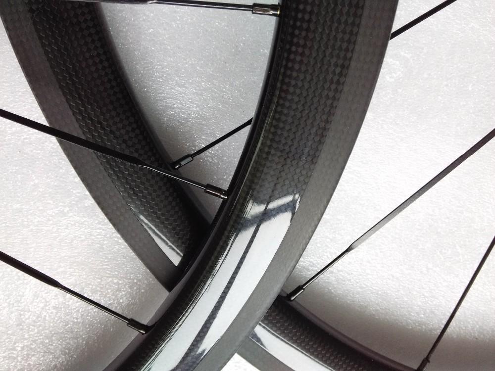 carbon wheels clincher 38mm 700C road bike clincher 38mm 3k glossy  black wheelset (4)