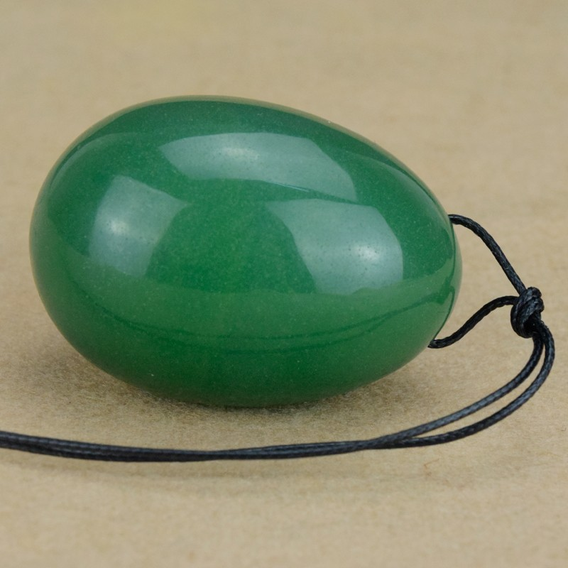 Drilled Yoni eggs Natural Green Aventurine Jade Egg for Kegel Exercise Yoni Egg for Women 45X30MM Love Egg for Adult chinese green jade drilled yoni egg for kegel with drilled hole on top