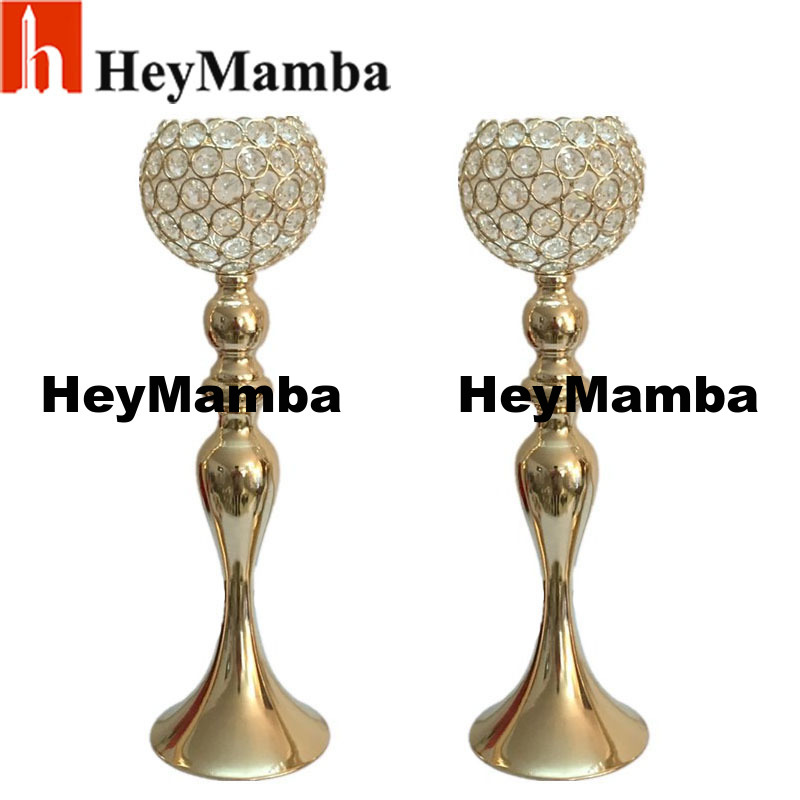 Heymamba 2pcs Metal Silver Plated Candle Holder Crystal Gold