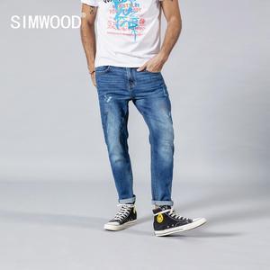 Image 1 - SIMWOOD 2020 spring winter new fashion letter print ankle length jeans men streetwear ripped hole hip hop denim pants 190202