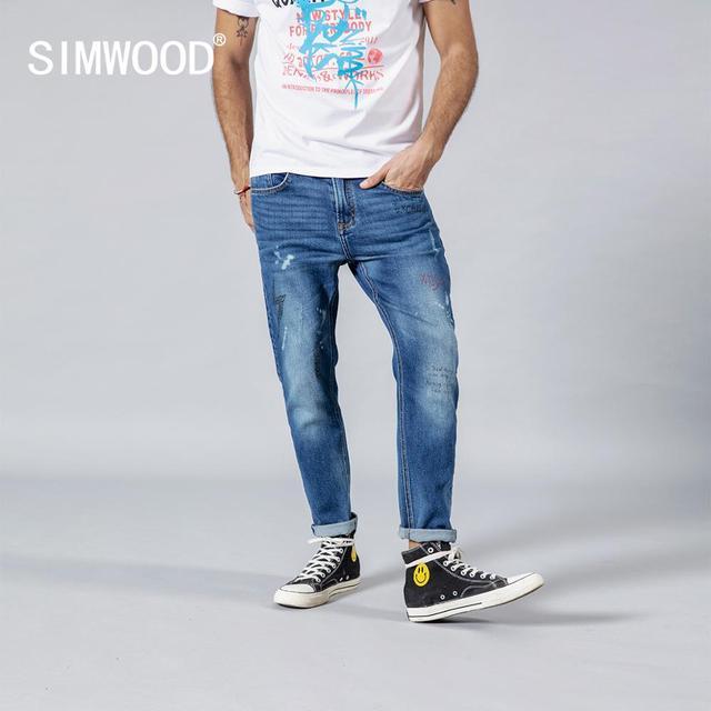 SIMWOOD 2020 spring winter new fashion letter print ankle length jeans men streetwear ripped hole hip hop denim pants 190202