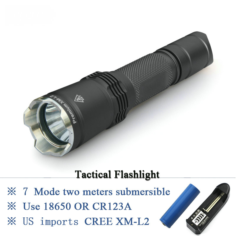 cree xm-l tactical flashlight L2 lanterna led flashlights china IPX-8 Waterproof 1 x 18650 battery or 2 x CR123A 7 mode tactical flashlight cree led linternas xm l2 torch ipx 8 waterproof cr123a or 18650 rechargeable battery hunting lights