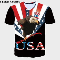 PLstar Cosmos Funny Flag Eagle Fashion T-shirts American Flag 3D Print Women/Men Hip Hop Tops summer style casual t shirt