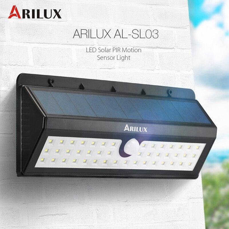ARILUX AL SL03 Solar Power 44 LED Solar Light PIR Motion Sensor Waterproof Outdoor Garden Light