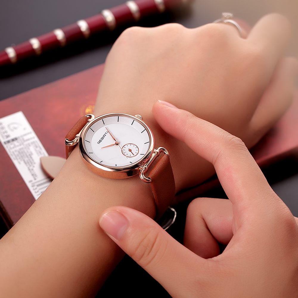 REBIRTH Gole Case Ladies Watch Analog Women Dress Watches Fashion Quartz Watch Girls Dress Wristwatch Gift relogio feminino