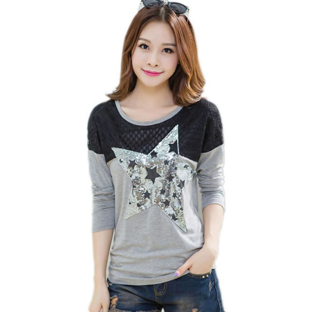 American apparel camiseta de manga larga t shirt mujeres blusa 2016 de invierno de Vestir tops camiseta de algodón mujer ropa camisas femininas 2016