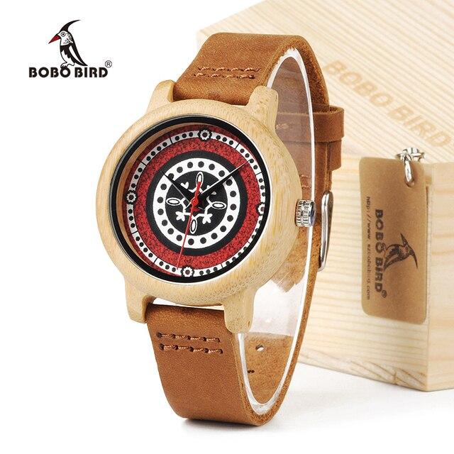 بوبو الطيور J19 الخيزران ساعة خشبية المرأة سوار من الجلد الأصلي مع حركة ميوتا اليابانية