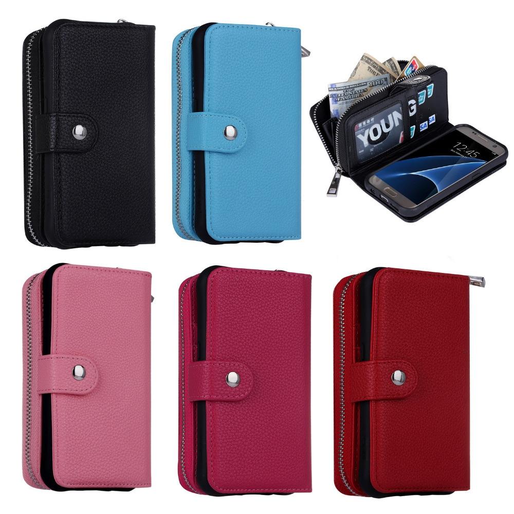 Роскошные Личи шаблон съемный кожаный чехол для Samsung Galaxy S7/S7 Edge молнии бумажник чехол телефон сумка задняя крышка сумочка