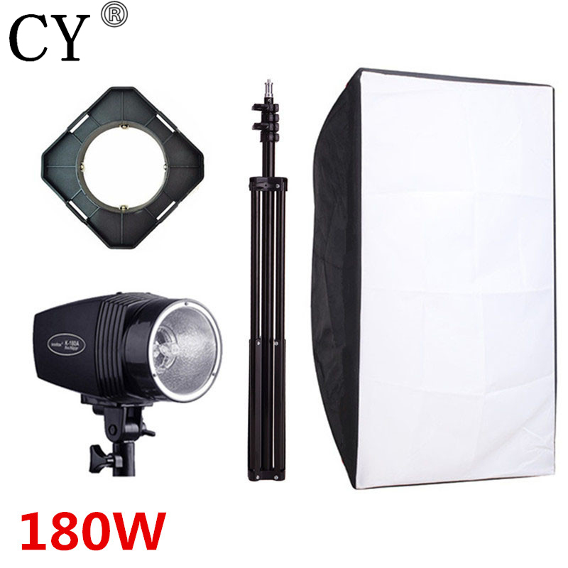 CY Photography Studio Soft Box Flash Lighting Kits 180W Storbe Light Stand Set Softbox Photo Studio Accessories Godox K-180A