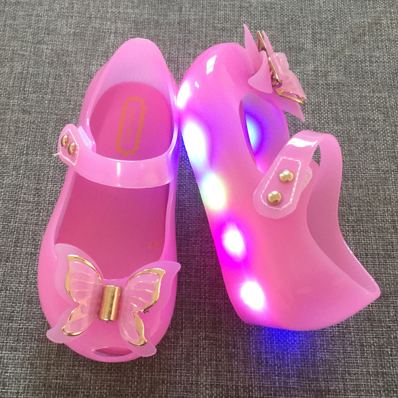 Melissa new magic lights LED lights girl bow princess shoes fish mouth baby cold slippers jelly shoes 24-29 ...