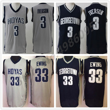 4124ac4f761 #3 Allen Iverson #33 Patrick Ewing Georgetown Hoyas College Retro  Basketball Jersey Mens Stitched