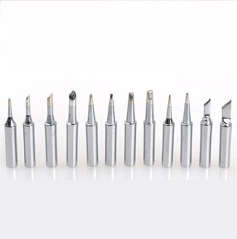 1Set 12PCS Silvery 10PCS Golden Available 900M-T Soldering Iron Tips Silver For Soldering Rework Station Eruntop 8586 936 937