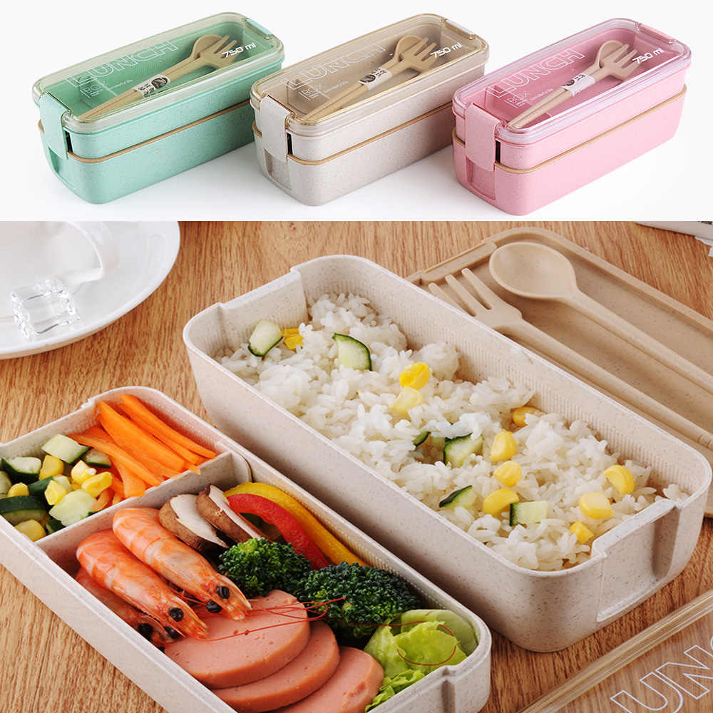 750ml Healthy Material 2 Layer Lunch Box Wheat Straw Bento Boxes Microwave Dinnerware Food Storage Container Lunch box