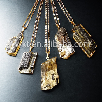 WT-N247 New!! Natural Raw mineral stone necklace, black tourmaline necklace