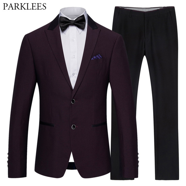 (Jacket+Pants) Classic 2 Piece Suit Men Formal Business Fuchsia Red Mens Button Dress Suits Stage Prom Wedding Grooms Outfit 5XL 1
