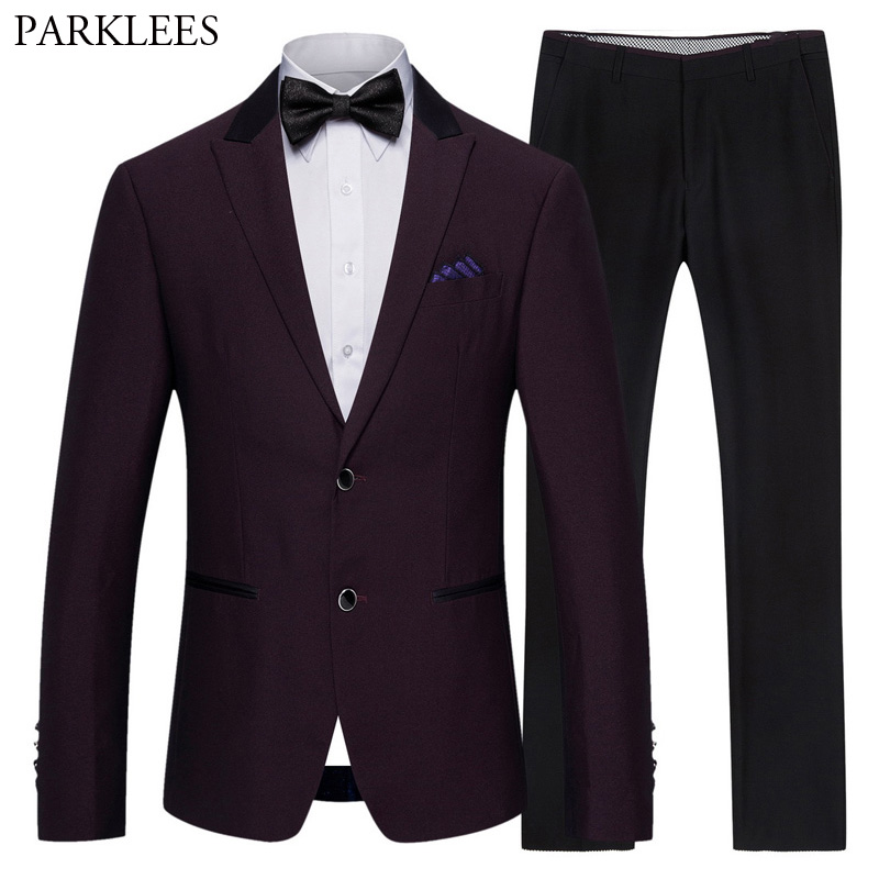 (Jacket+Pants) Classic 2 Piece Suit Men Formal Business Fuchsia Red Mens Button Dress Suits Stage Prom Wedding Grooms Outfit 5XL
