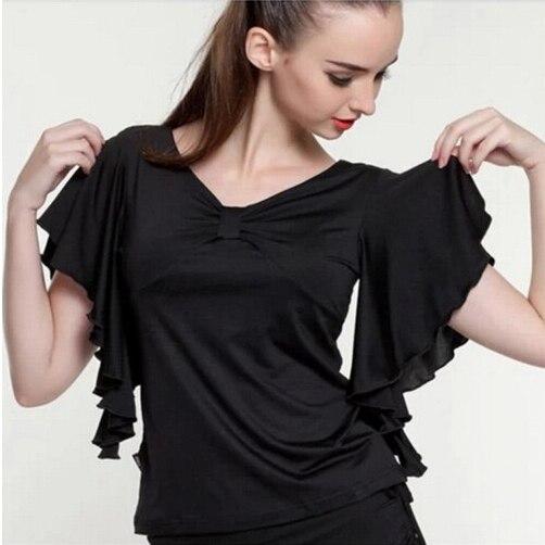New Women Lady Batwing Butterfly Sleeve Gather Front Plus Size Latin Dresses  Ballroom Dress Modern Dance Top