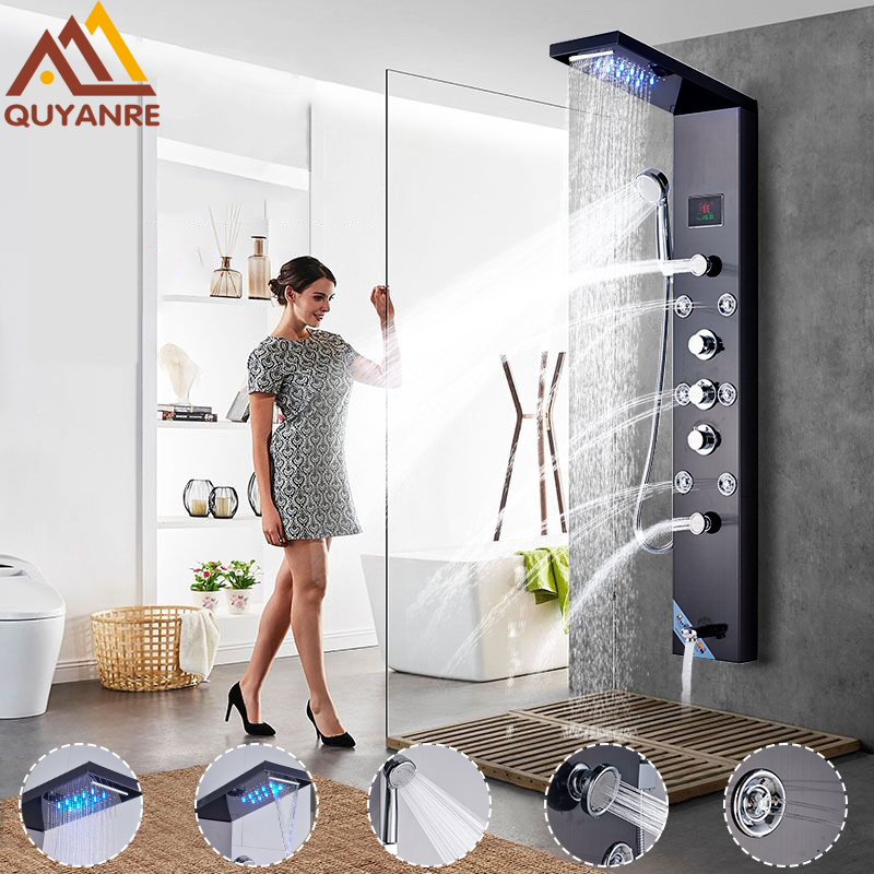 Quyanre Shower Faucet LED Shower Panel Rain Waterfall Shower Head Temperature Screen Massage Jet Handshower Mixer Tap Faucets цена