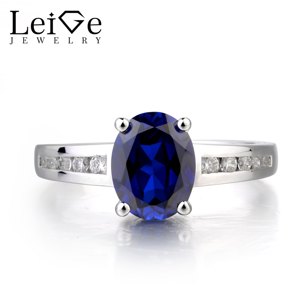 Leige Jewelry Blue Sapphire Ring Sapphire Promise Ring September Birthstone Oval Cut Blue Gemstone 925 Sterling Silver Gifts leige jewelry oval cut lab blue sapphire promise ring 925 sterling silver ring gemstone september birthstone halo ring for her