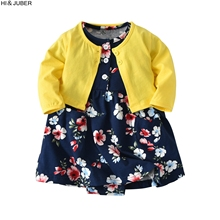 ФОТО hot baby girls baby girls cotton jacket + long-sleeved ha-dress girls spring and autumn skirt skirt factory outlets