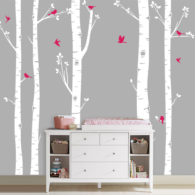 Large Tree Vinyl Wall Stickers Set Of 5 Birch Trees With Birds Decals Living Room