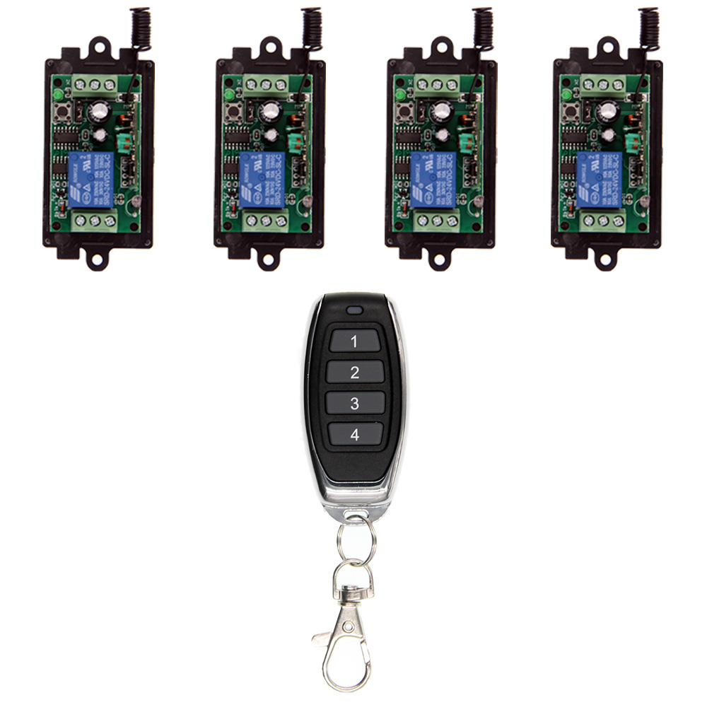 все цены на DC 9V 12V 24V 10A Relay 1CH Wireless RF Remote Control Switch 4CH Transmitter+ Receiver 315 / 433 MHz Controller Popular онлайн
