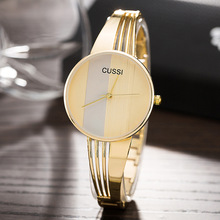 CUSSI Relojes de moda Mujer Pulsera de acero chapado en oro Señoras Vestido Relojes Oro / Plata / Oro rosa Reloj de cuarzo Relogio Feminino