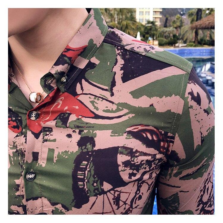 Camoflage été hommes ensemble deux pièces Buisnes décontracté Chemise + Court pantalon ensemble Chemise Homme Manche Court Trainingspak Mannen - 4