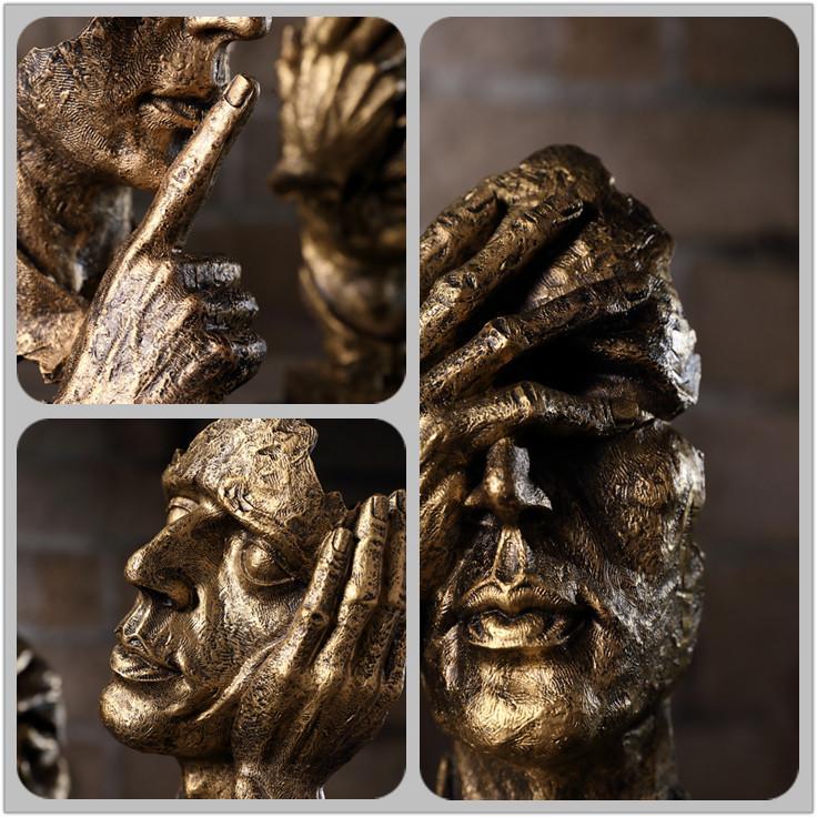 comprar regalo de resina abstracto artesana figurines esculturas decorativas fundido modelo humano cara con la mano la decoracin del hogar