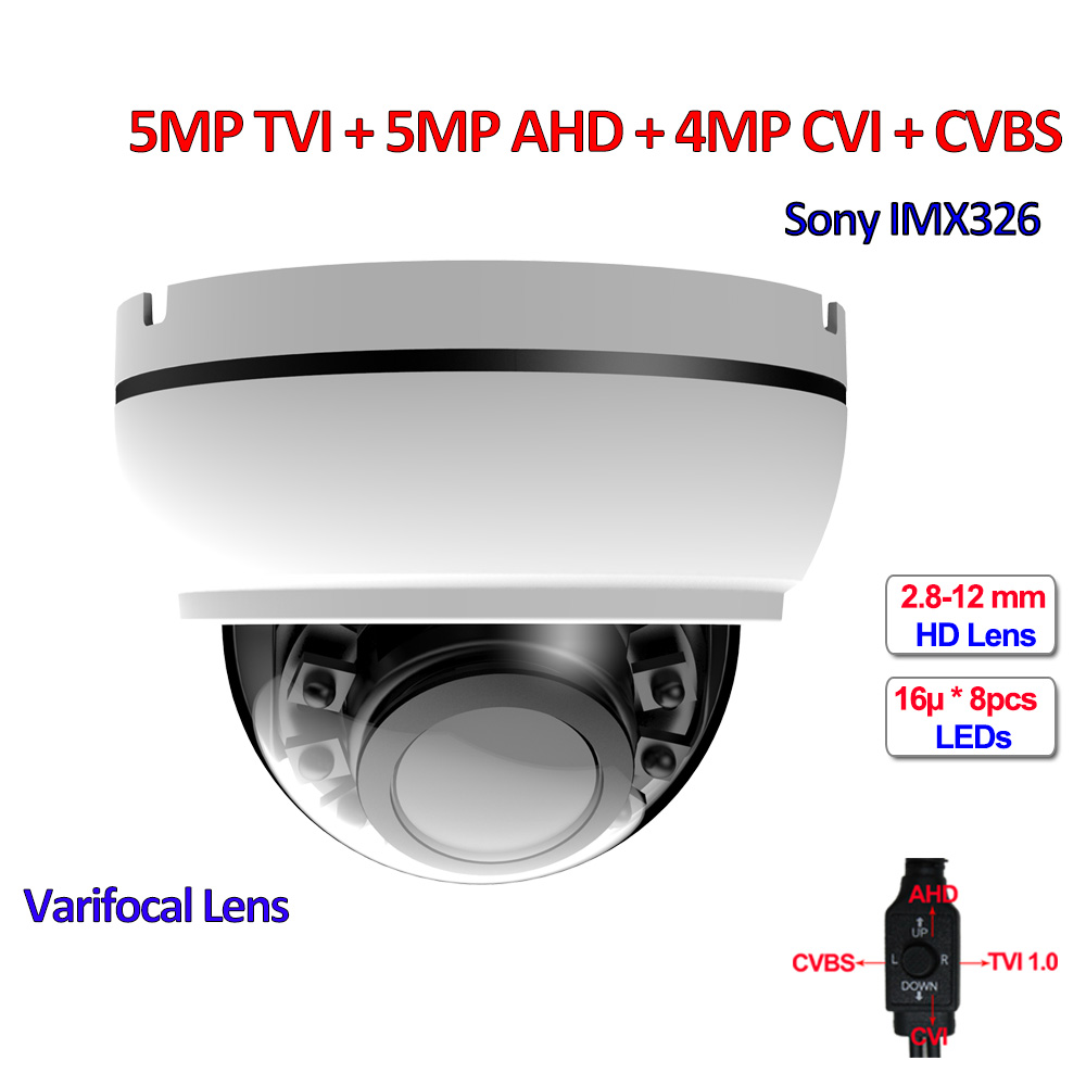 5MP TVI 4MP AHD CVI IMX326 CMOS Security camera 4in1 surveillance cameras, IR CUT, DNR, UTC, OSD, Varifocal Lens, SMD IR LEDs 5mp tvi 4mp ahd cvi imx326 cmos security camera 4in1 surveillance cameras ir cut dnr utc osd varifocal lens smd ir leds