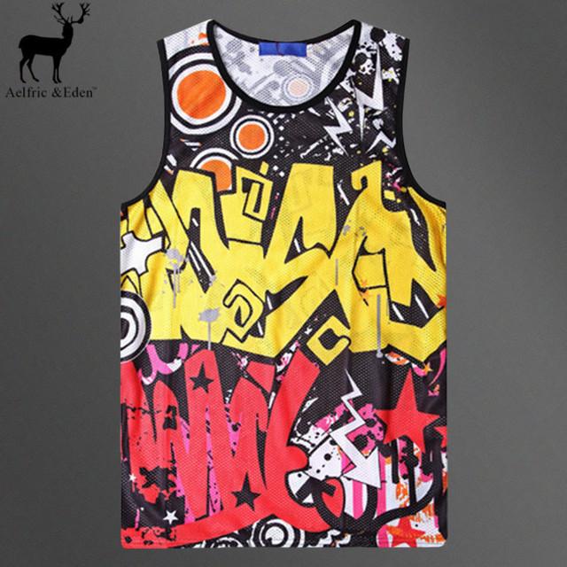 Aelfric Eden Homens Moda Vest Mens Impressão 3d Gymshark Tanque Top Hip Hop Personalidade Graffiti Respirável Casuais Undershirt