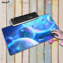 Mairuige Beautiful Blue Space Durable Rubber Large Lock Edge Gaming Speed Mouse Mat Pad Size for300*700 300*800 and 400*900*3mm