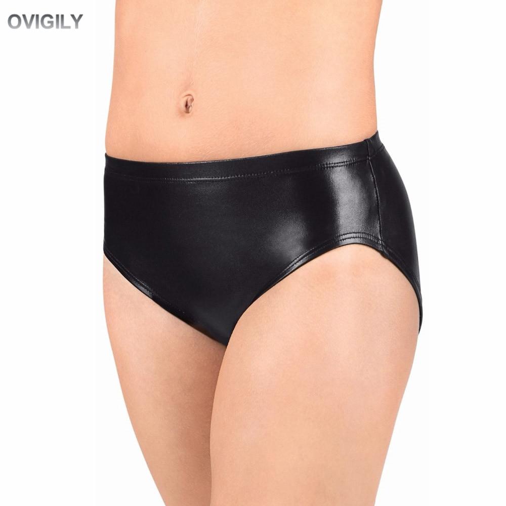 OVIGILY Women Black Low Elastic Waistband Dance Shorts Adults Metallic Performance Shorts Shiny Underwear Bottoms For Female